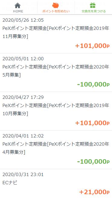 PeX 定期預金通帳