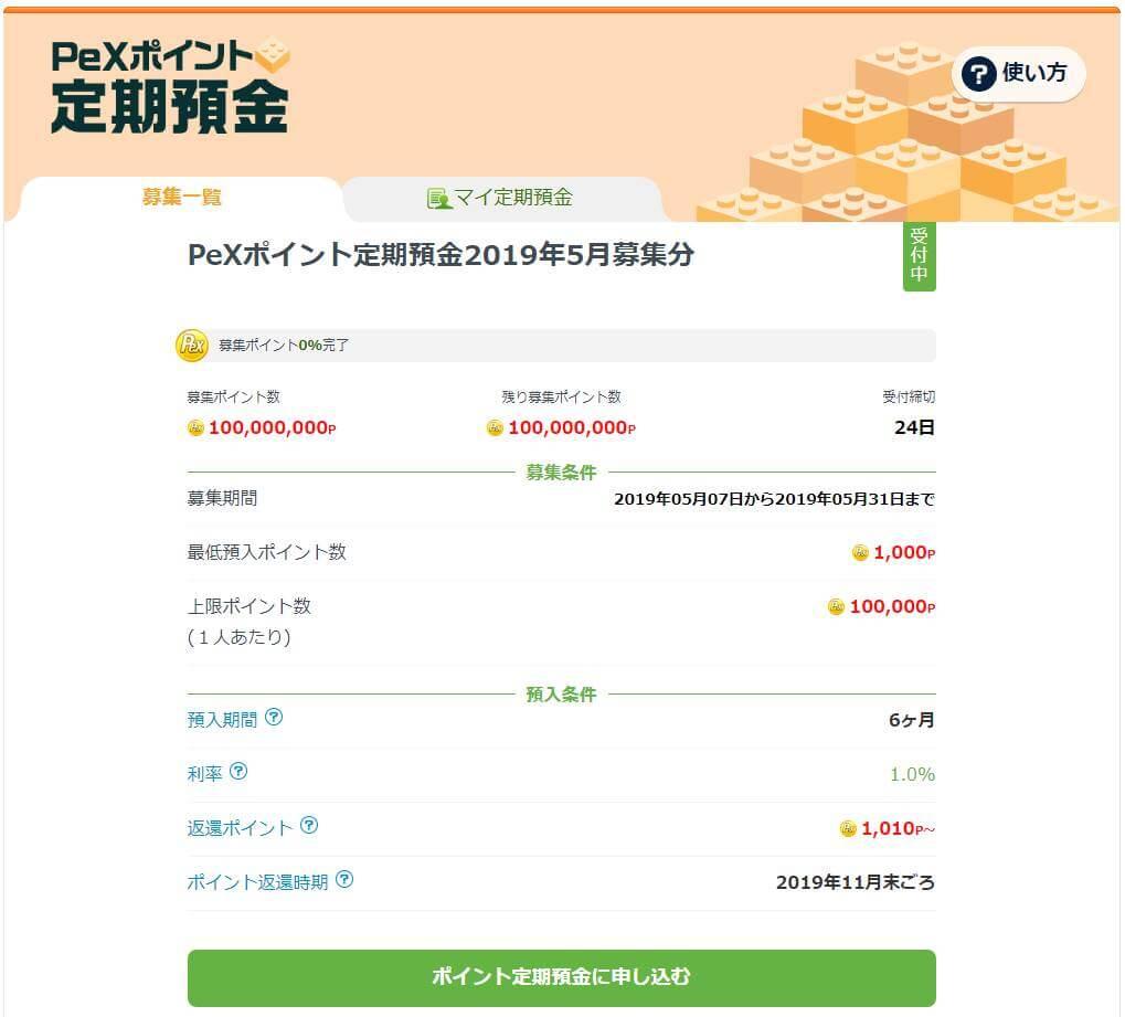 PeXポイント定期預金 募集条件と預入条件